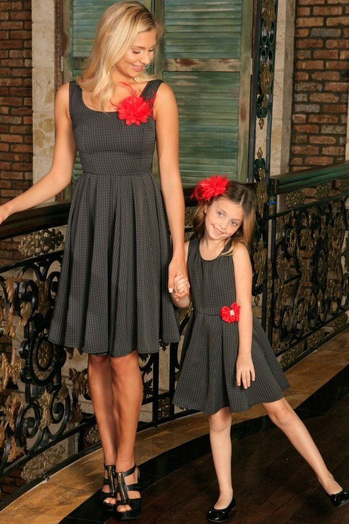 18c09afa2b8 Black Grey Sleeveless Skater Fit and Flare Party Mother Daughter Dress