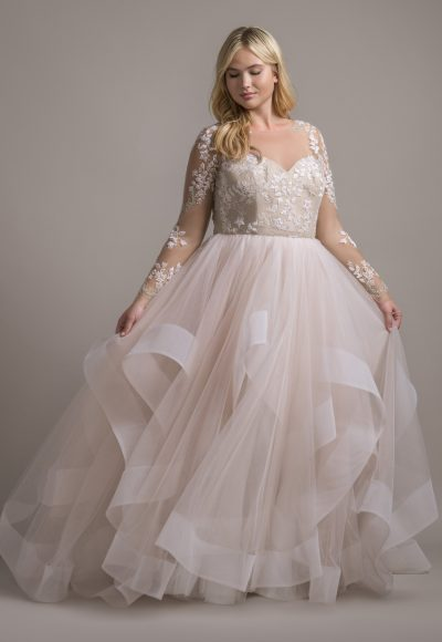 Illusion Neckline Long Sleeve Ball Gown Wedding Dress With Ruffle Skirt | Kleinfeld Bridal