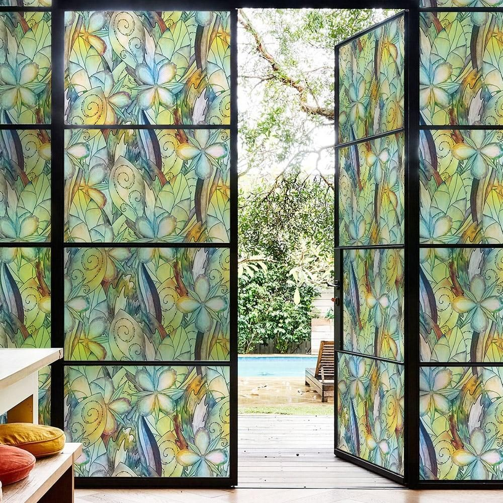 Static Cling Decorative Window Film Vinyl Non Adhesive Privacy Film For Bathroom Shower Door Stained Glass Window Film Window Film Decorative Window Film