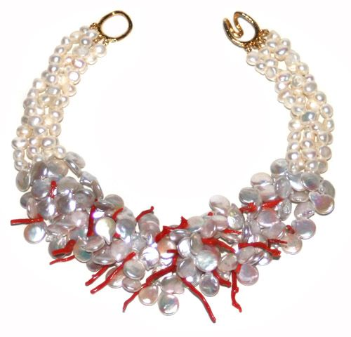 Helga Wagner Coin Fresh Water Pearls with red branch coral, fresh water pearls and tiffany clasp.