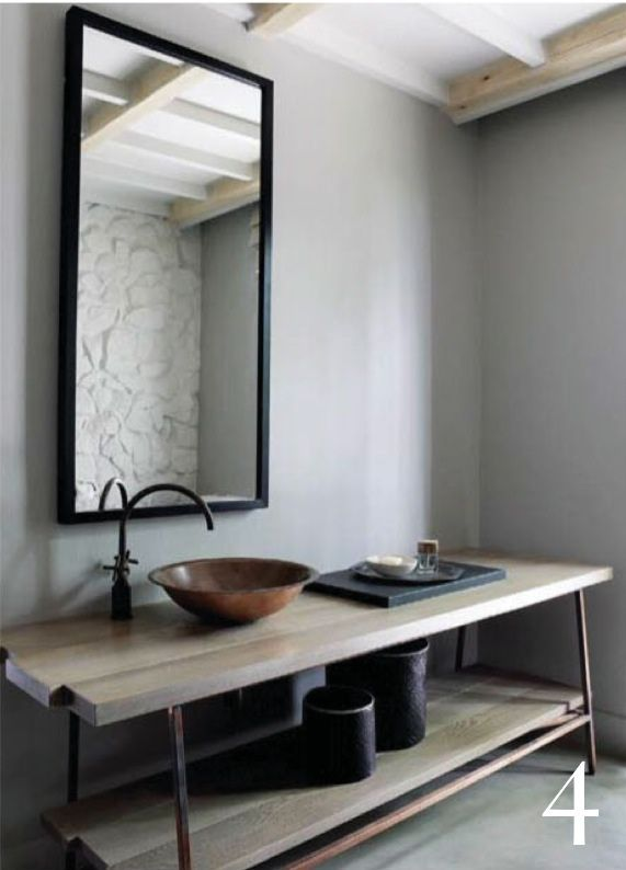 Black Rustic Bathroom Vanity: Beautiful Minimal Rustic Bathroom_open Shelf Vanity