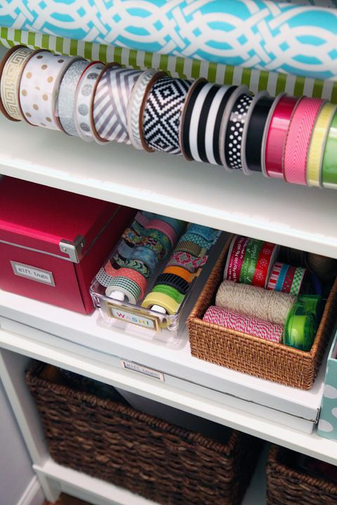 IHeart Organizing: wrapping station + DIY washi tape dispenser box