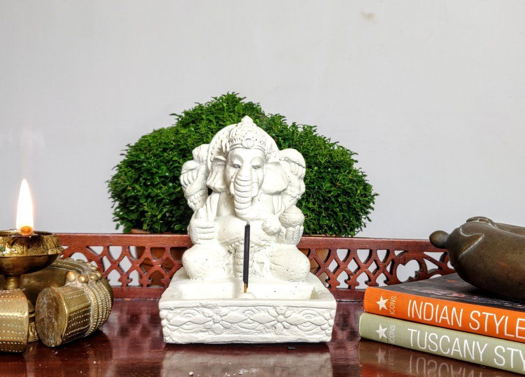 Home Decor Idol. Stone statue of four handed Lord Ganesha, incense stick holder.