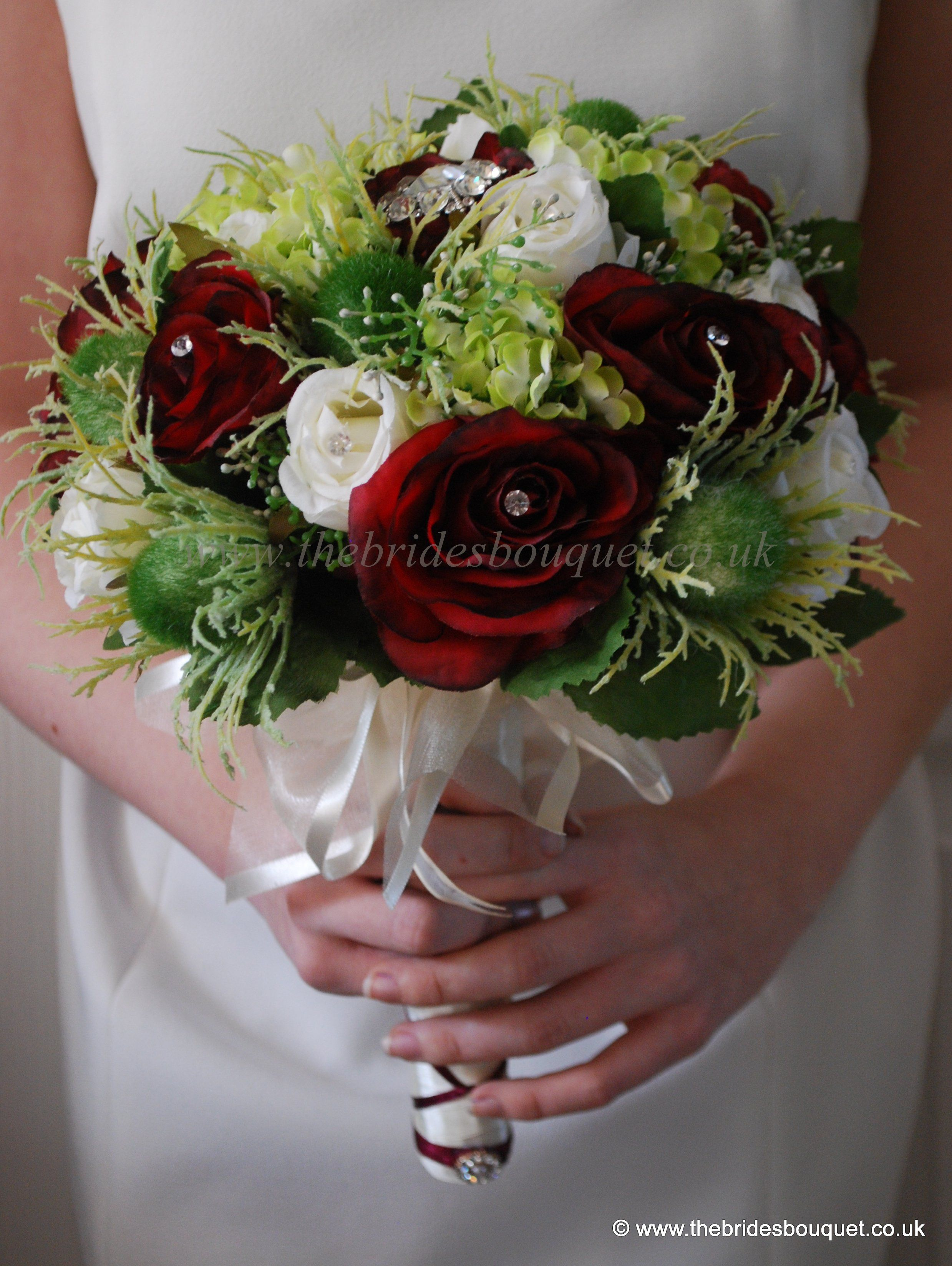 Scottish Theme Bridal Bouquet Rose And Thistle Bridal Bouquet