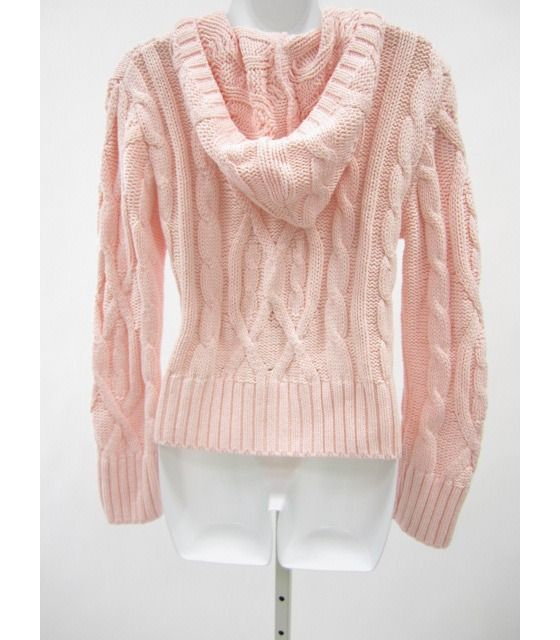 525 AMERICA Light Pink Hooded Long Sleeve Cable Knit Full Zip Sweater Sz S $29.00