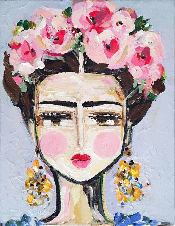 frida print roses pretty portrait malen frida kahlo und acryl. Black Bedroom Furniture Sets. Home Design Ideas