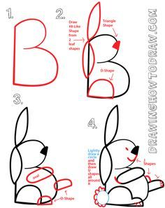 drawing a bunny rabbit from a capital letter b shape | dessin