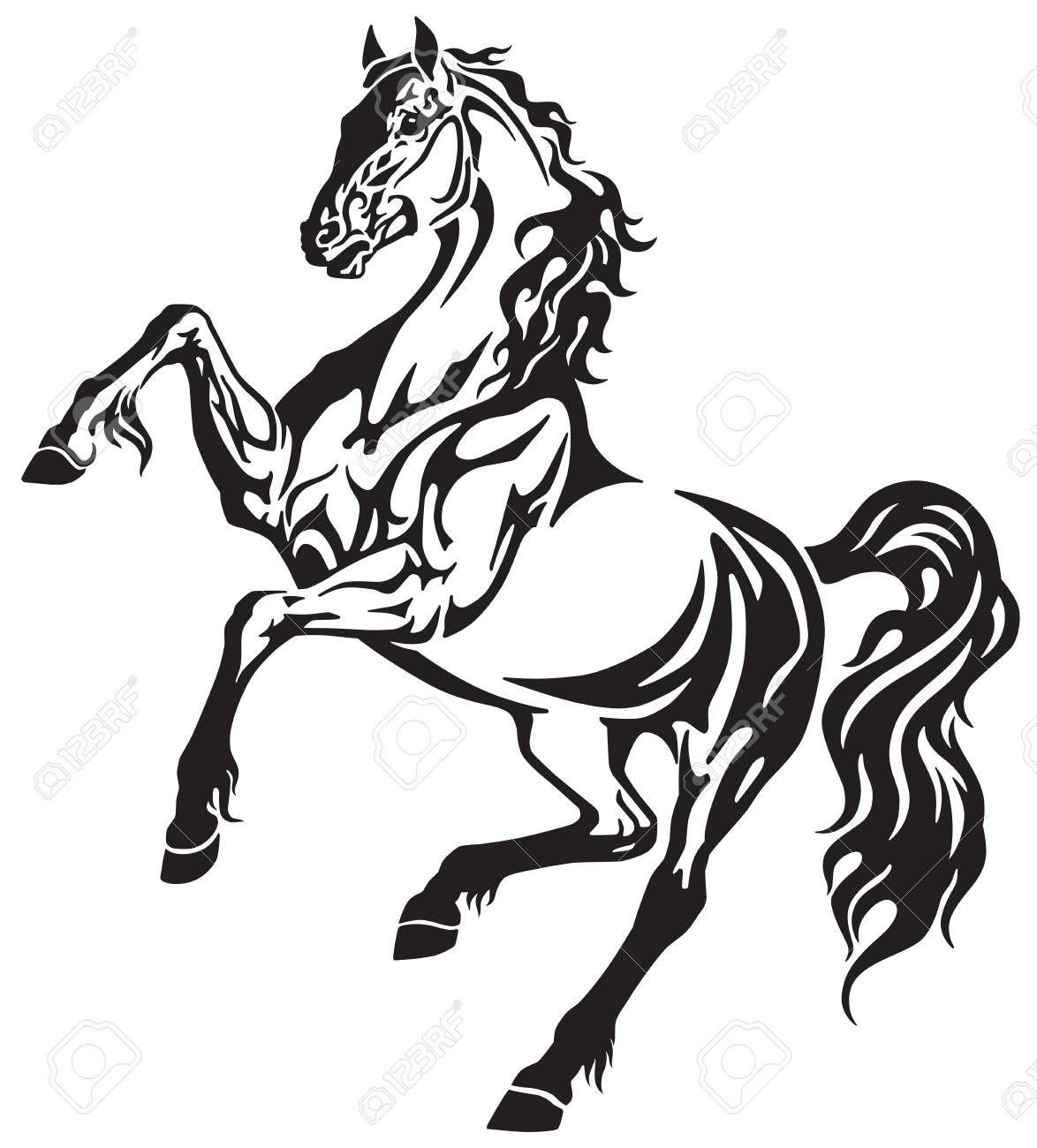 The Horse Stallion In The Rearing Free Movement Elegant Tribal Stallion Tattoo Horse Tattoo Tattoo Style