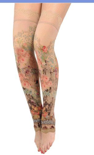 Victorian Elegance Thigh-Highs Designed by Michal Negrin with Victorian Inspired Roses, Artistic Drawings and Lace Trim Edge; Handmade in Israel - Buy New: $187.00