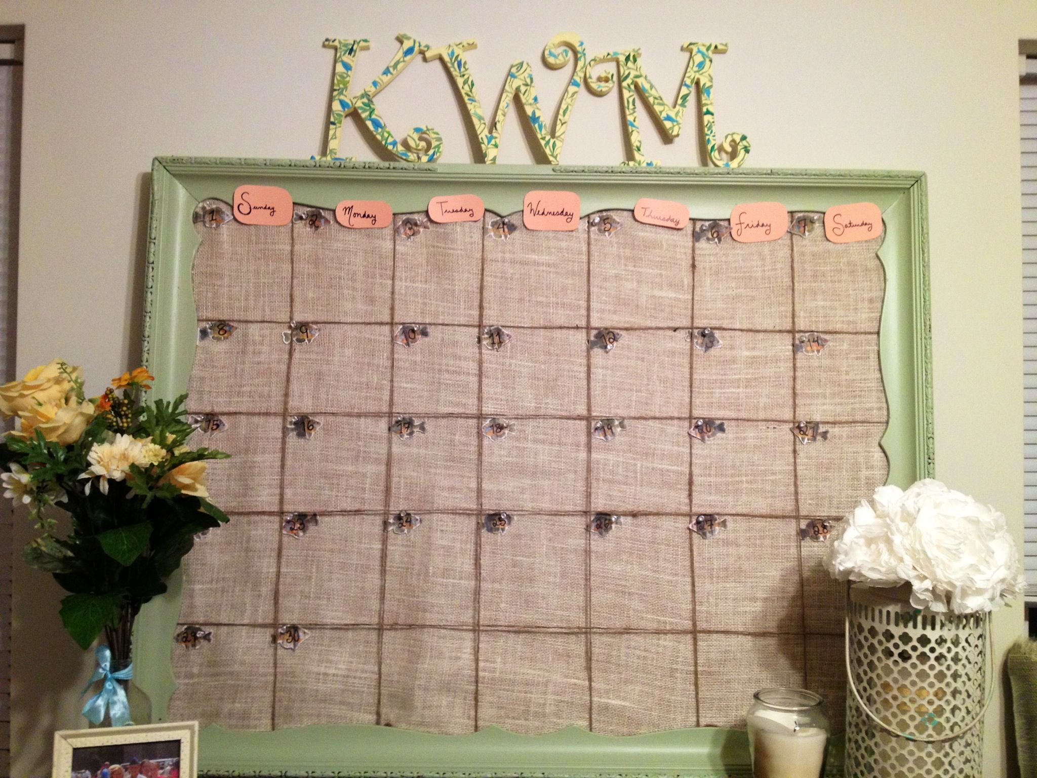 Push Pin Calendar Make From Massive Yard Sale Frame With Burlap