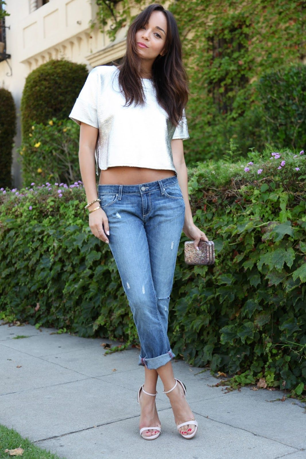 Silver cropped top   rolled-up boy-friend jeans   white stilettos ...
