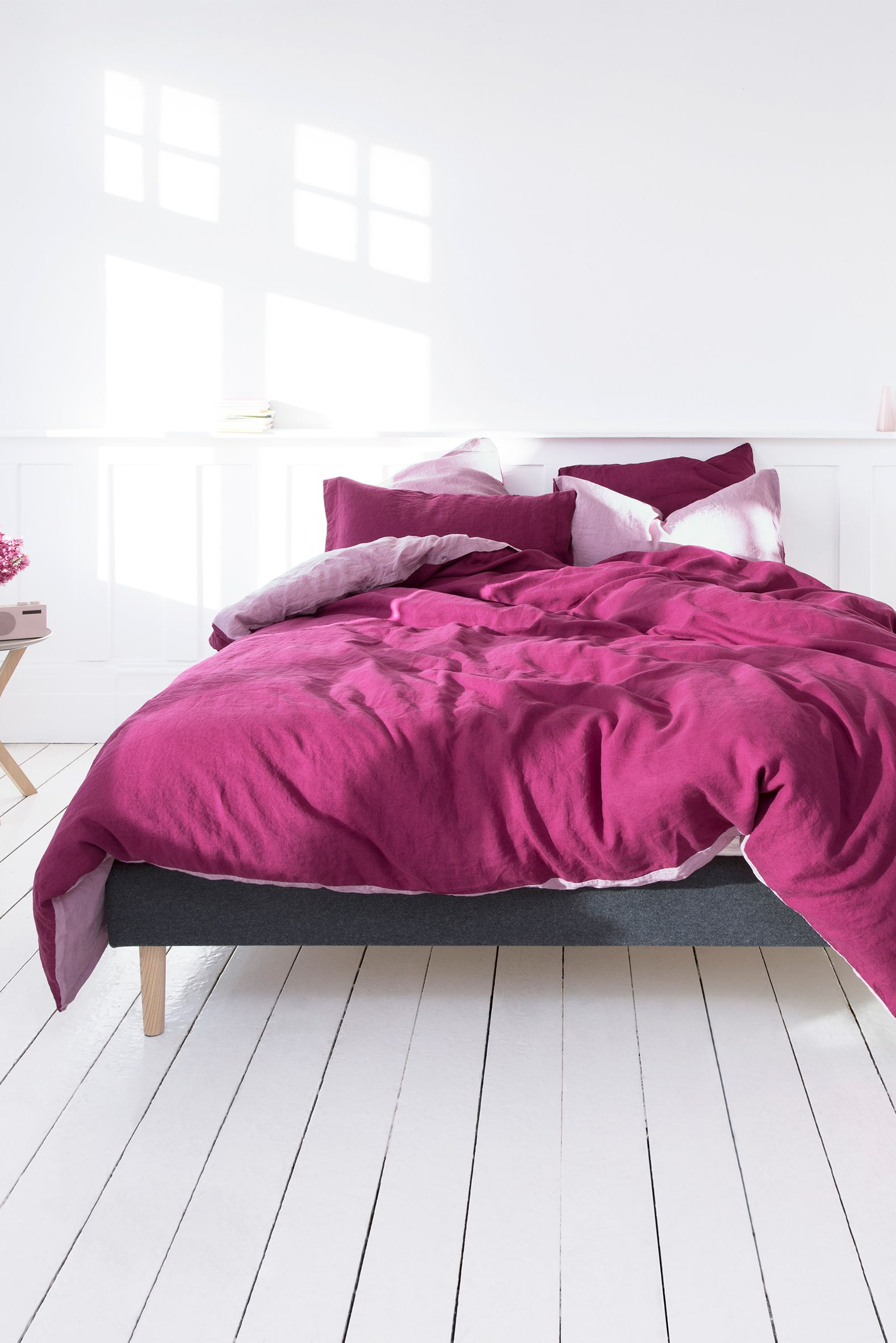 Blush And Berry Coloured Bed Linen By Eve Sleep Made From Flax Stonewashed