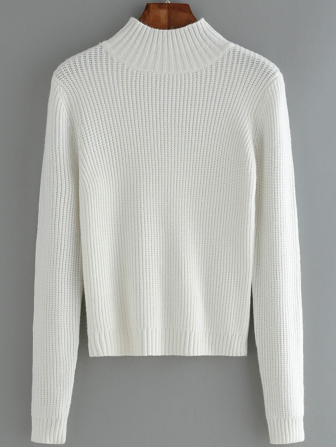 Women Mock Neck Slim White Sweater 18.00 | Fashion pics ...