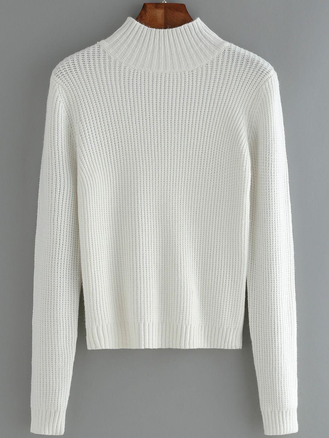 Women Mock Neck Slim White Sweater 18.00   Fashion pics ...