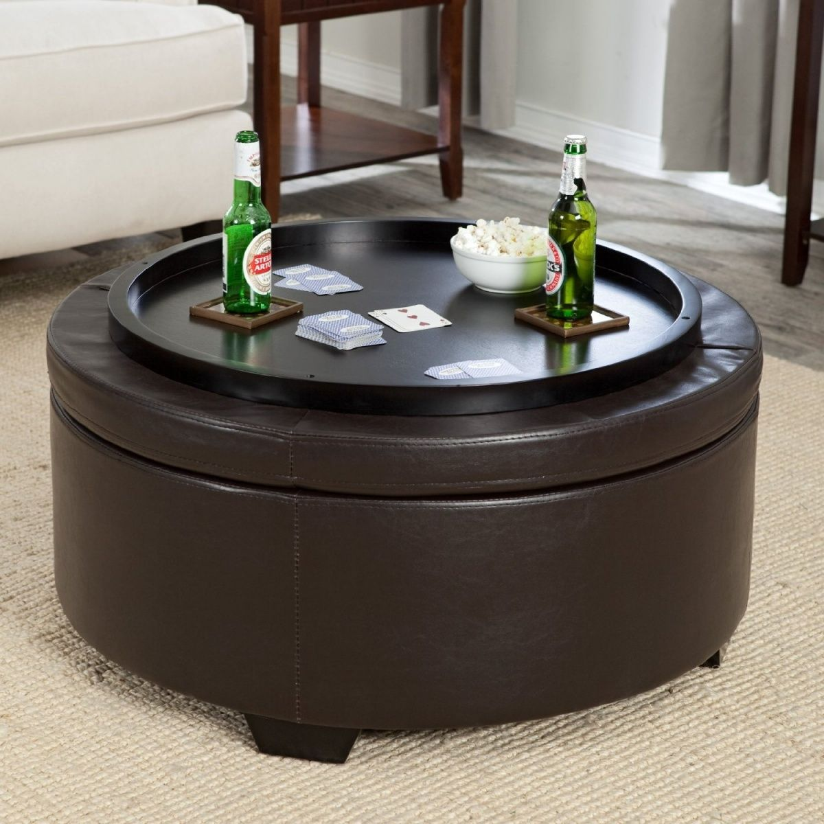 Magnificent Black Leather Round Storage Ottoman With Tray And Wood Legs Dailytribune Chair Design For Home Dailytribuneorg