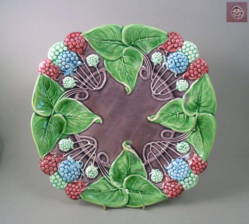 Rare antique Art Nouveau majolica plate. Nice original example of majolica plate…