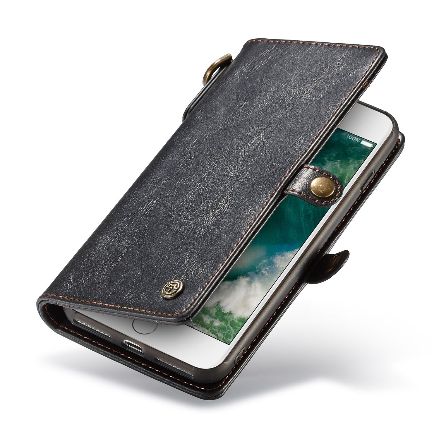 Caseme iphone 8 plus leather wallet case with wrist strap