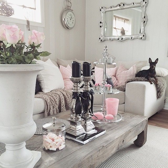 Elegant and sophisticated living room inspiration black and grey pink accents silver decor Grey home decor pinterest