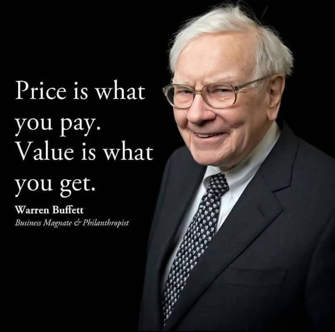 "Warren Buffett on Instagram: """"Price is what you pay. Value is ..."