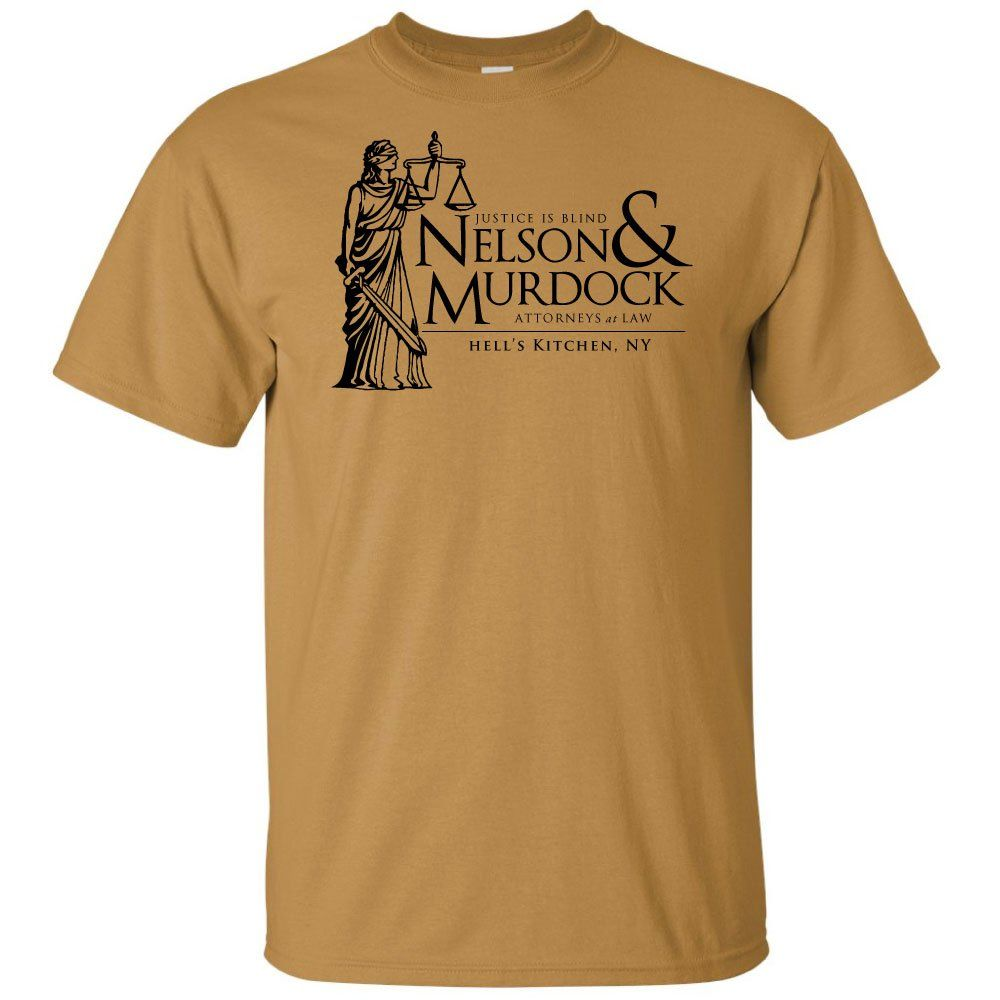 Daredevil classic shirt in a gold reminiscent of his original costume? This nelson and murdock shirt has it all!