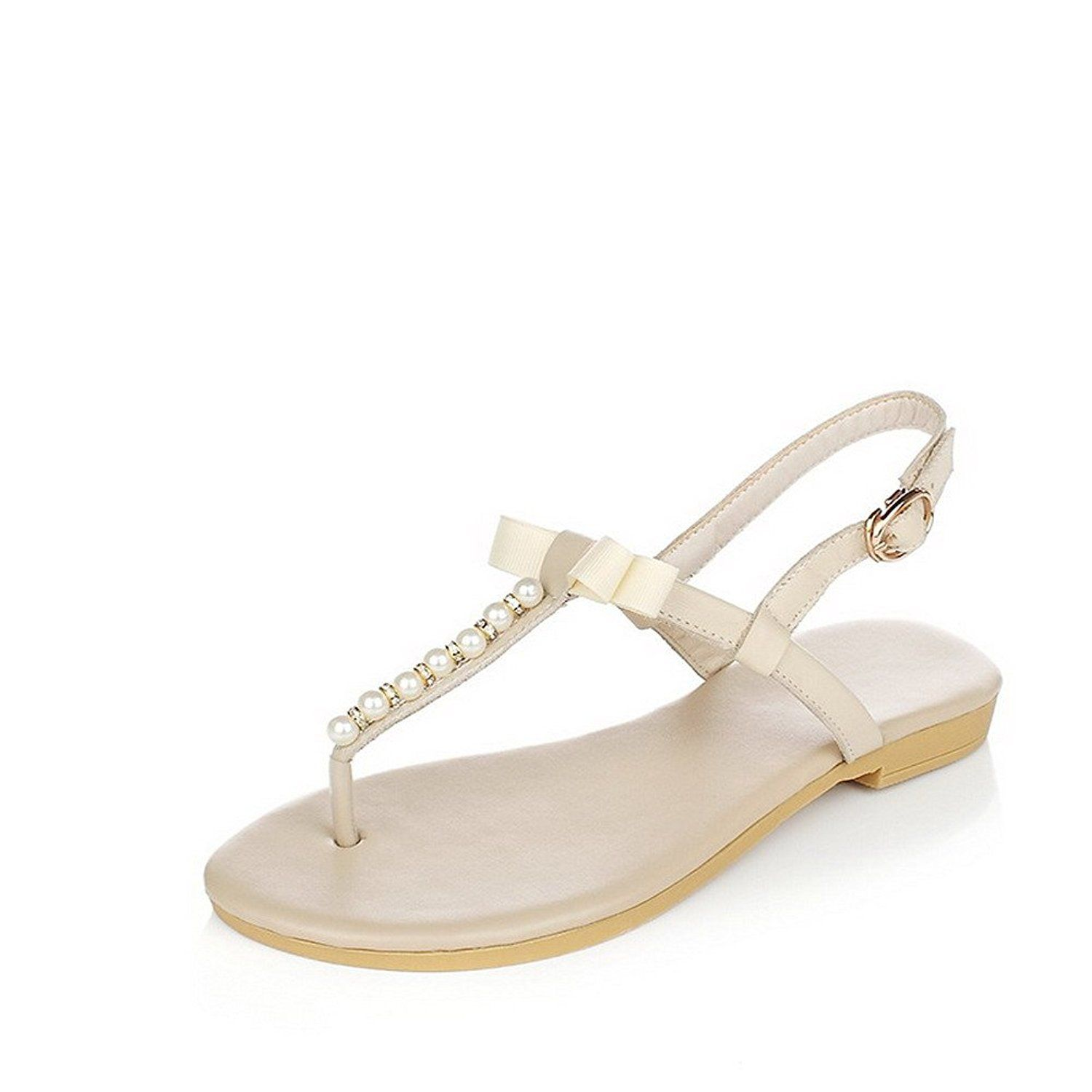 8dacecea4194 WeiPoot Women s No-Heel Soft Material Solid Buckle Split Toe Flip-Flop- Sandals with Bowknot     Check out the image by visiting the link.