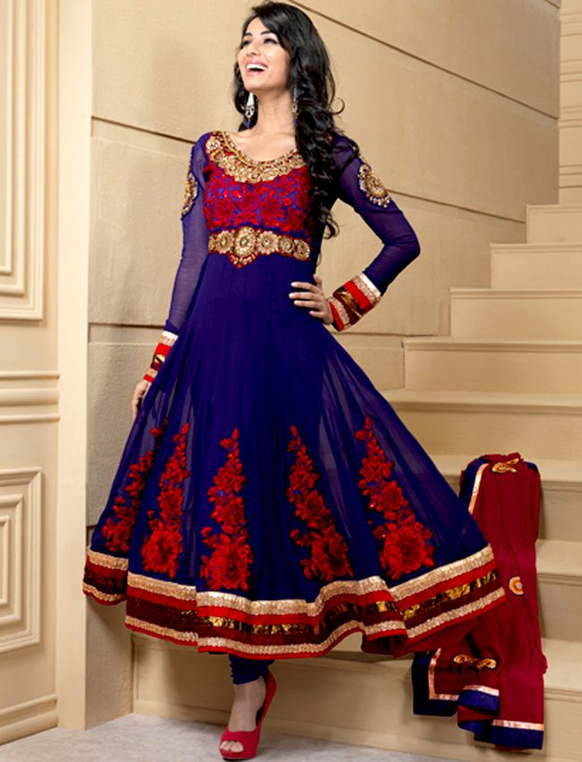 dc5141afa1 Breathtaking collection of suits with stylish embroidery work and fabulous  style. The dazzling violet georgette churidar suit have amazing embroidery  patch ...
