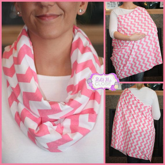 SO Getting Some of These!!!   NEW Spring Pink Chevron Hold Me Close Nursing Scarf, Nursing Cover, Infinity Nursing Scarf