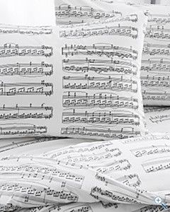 Sheet Music Percale Bedding - loves these, I'm just afraid my son might stay up all night playing the notes on his piano!