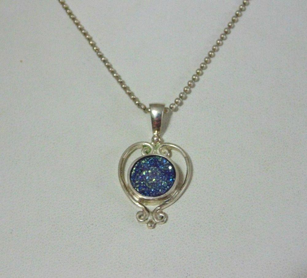 Vintage beautiful sajen silver blue druzy pendant and chain necklace vintage beautiful sajen silver blue druzy pendant and chain necklace aloadofball Choice Image