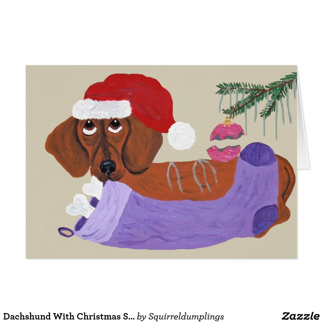 Dachshund with christmas stocking custom christmas greetings dachshund with christmas stocking kristyandbryce Image collections