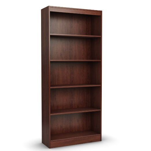 Contemporary 5 Shelf Bookcase Bookshelf In Royal Cherry Wood
