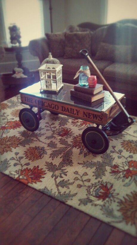 Antique Newspaper Wagon Coffee Table