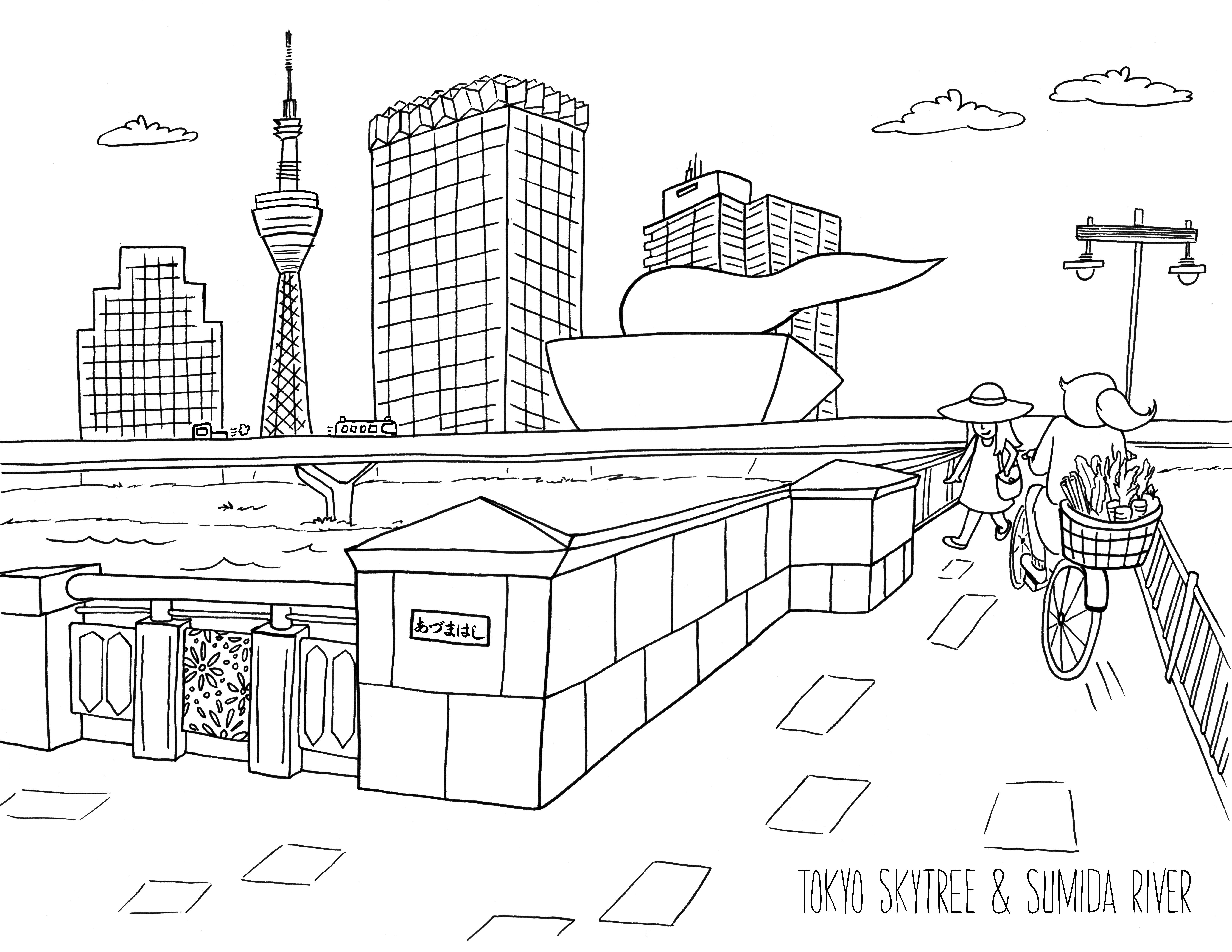 Tokyo Skytree and Sumida River Illustration in 2019