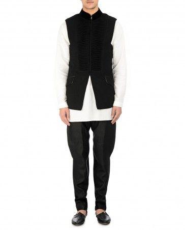 Texture Black Waistcoat by Tarun Tahiliani