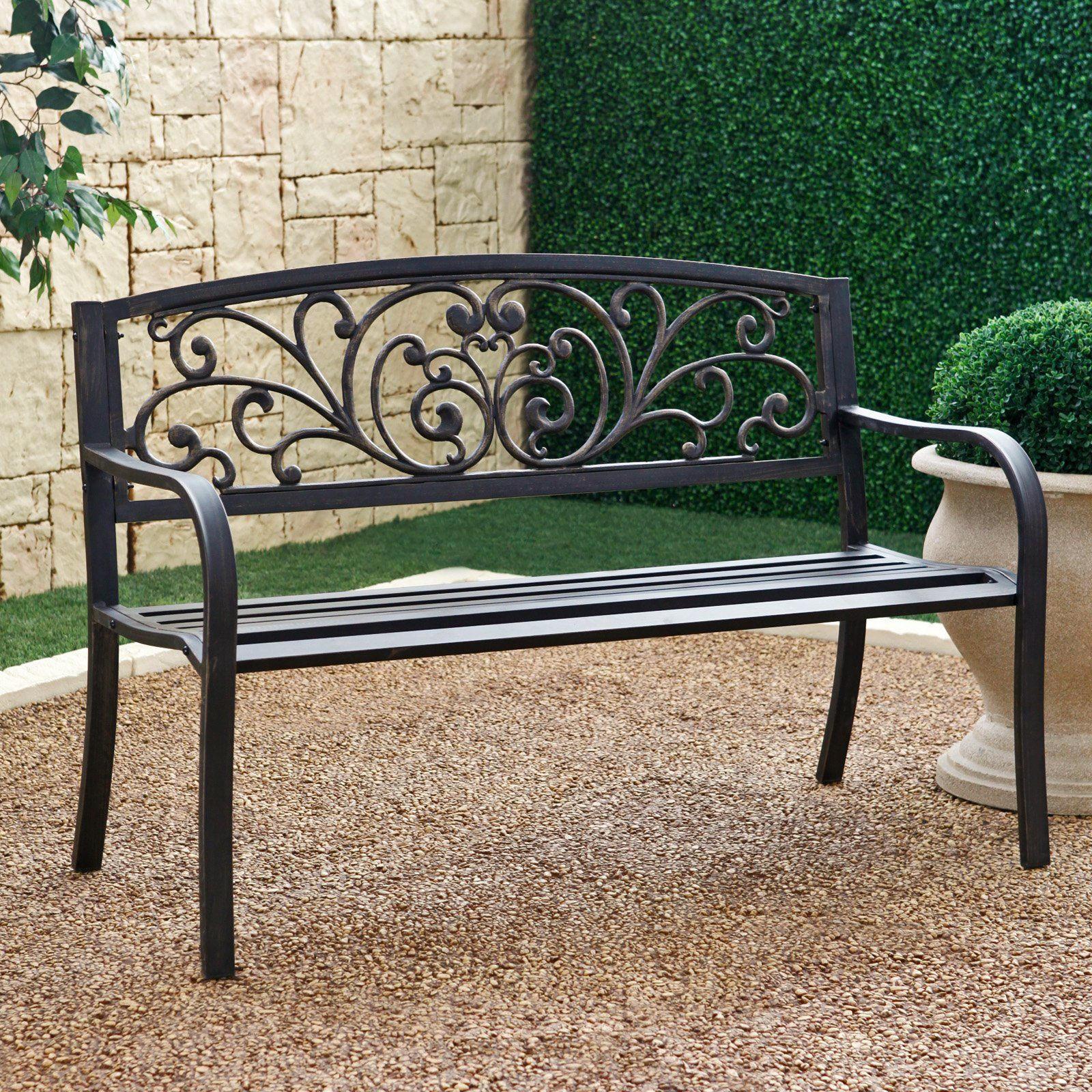 Have To Have It Coral Coast Metal Scrolling Hearts Curved Back Garden Bench