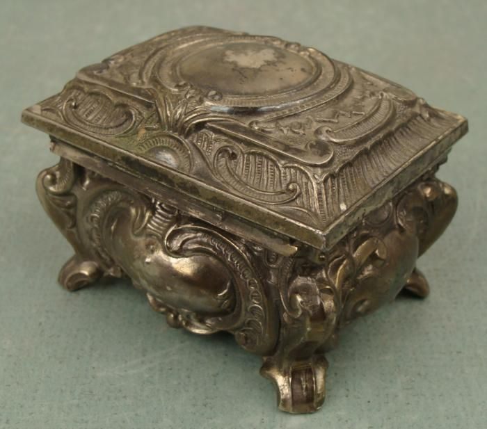 Art Nouveau Vintage Small Metal Jewelry Box M Marked Boxes