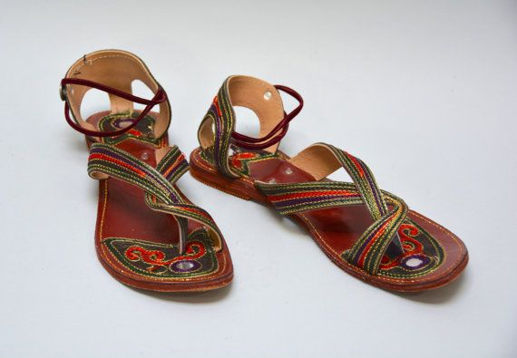 And Chainstitch Embroidered Vintage Mirror Sandals East Indian QrxBoCeWd