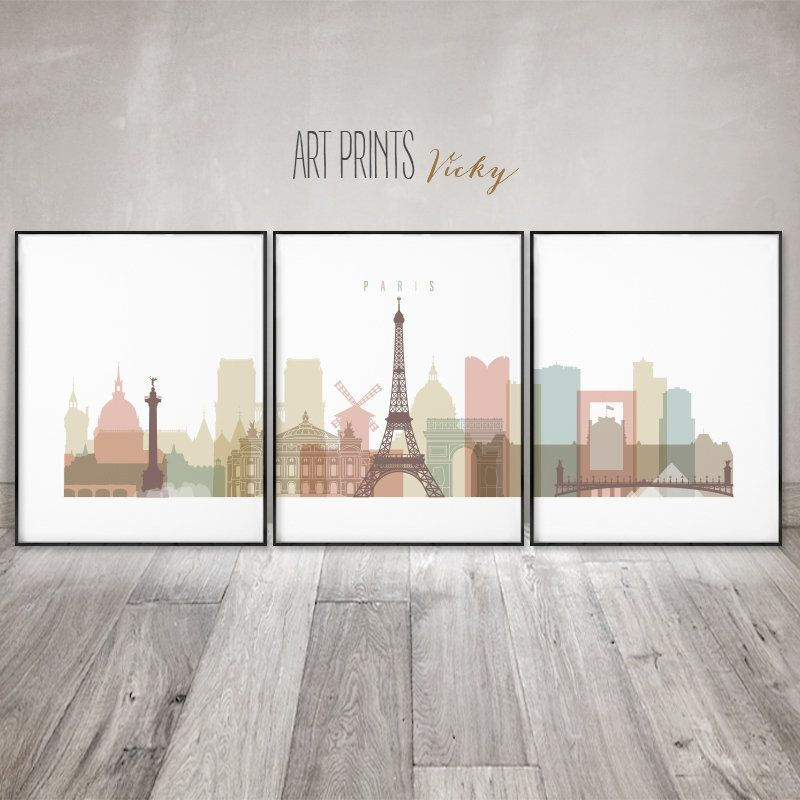 Excited To Share The Latest Addition To My Etsy Shop Paris 3 Pieces Wall Art Posters Paris Skyline Set Of 3 Print City Artwork 3 Piece Wall Art Skyline Art