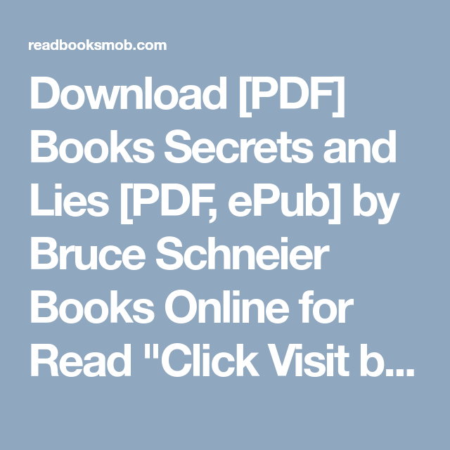 SECRETS AND LIES SCHNEIER EPUB