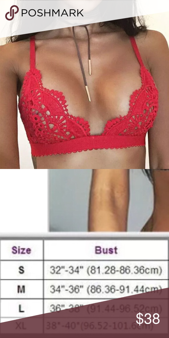 c2d4d6ac43 Racy Red Crochet Bralette Lace Bra Lingerie 😍Racy bright red crochet bra  top w
