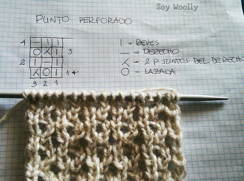 Cómo tejer un punto calado según un diagrama: Punto Perforado ...