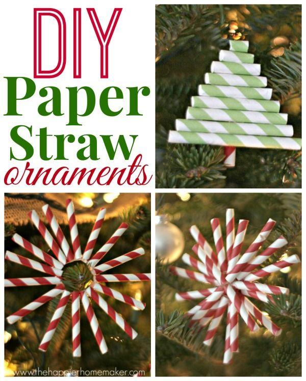 Diy Paper Straw Ornaments The Happier Homemaker Christmas Ornaments Paper Straws Crafts Diy Christmas Ornaments