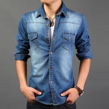 Tymhgt Mens Solid Color Denim Hipster Long Sleeve Pockets Button Down Shirts