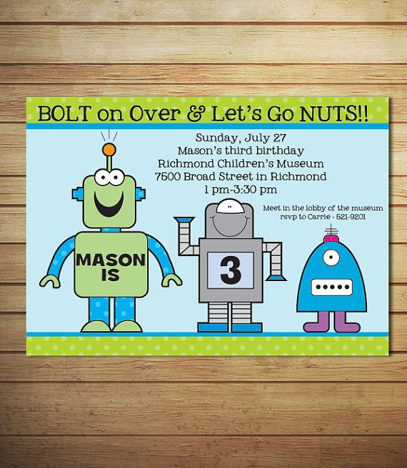 Robot birthday invitations robot party by lollipopsandunicorns robot birthday invitations robot party by lollipopsandunicorns 1200 filmwisefo