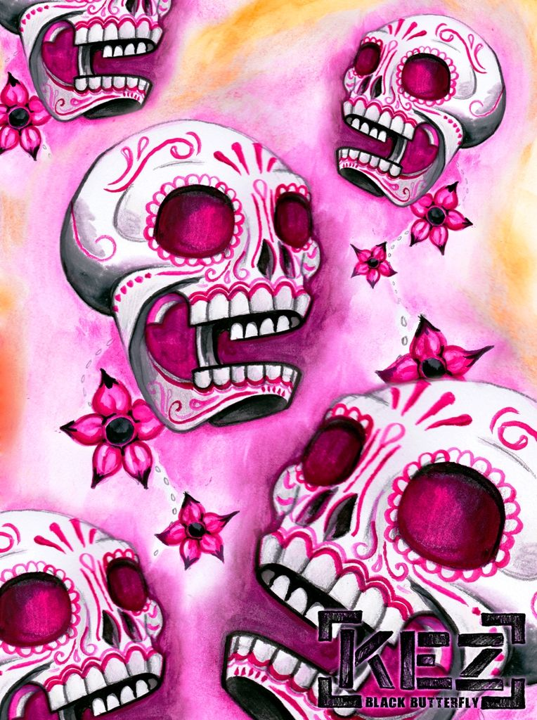 Skulls Day Of The Dead Pink Skull Wallpaper Skull Wallpaper