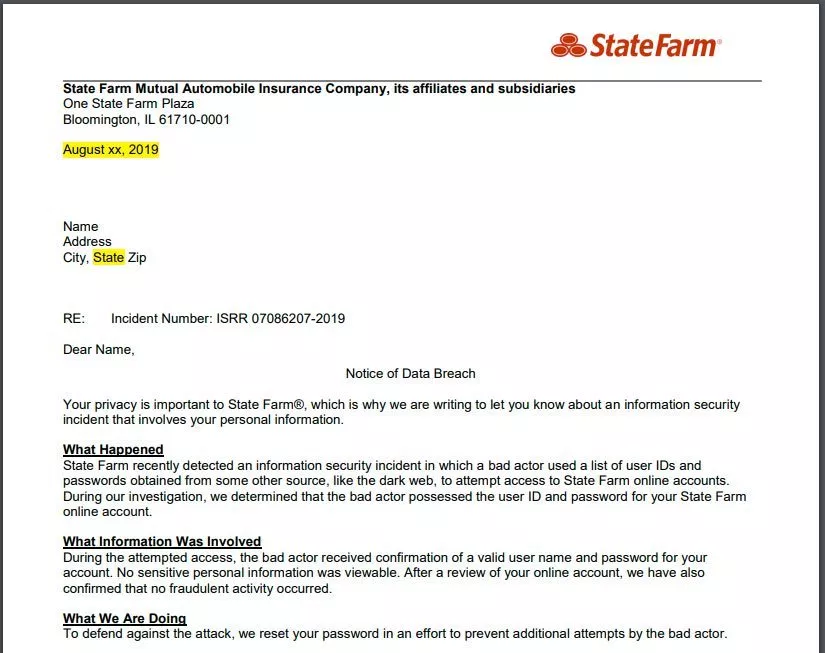 State Farm Accounts Committed to the attack on credential