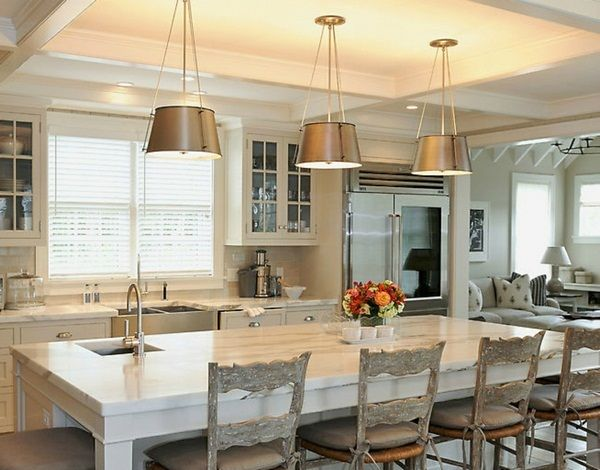 French country-style kitchen island shabby chairs gray showcases