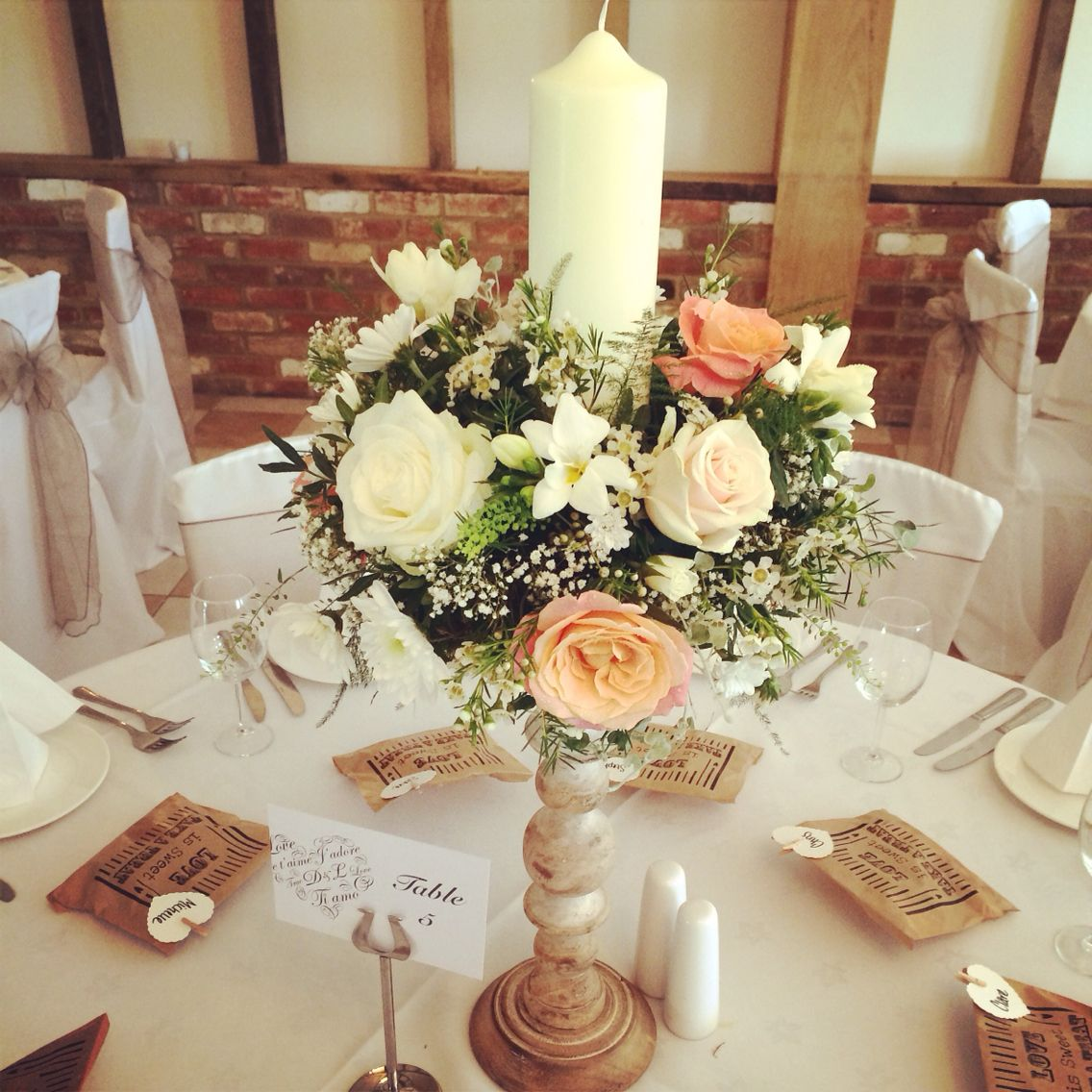 Wooden Candlestick With Coral Peach And Cream Flowers Roses Hydrangea Candles Gypsophila
