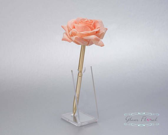 Peach Rose Pen Sets Holders Wedding Guest Book Guestbook Gold Weddings Pens Golden Anniversary Penne