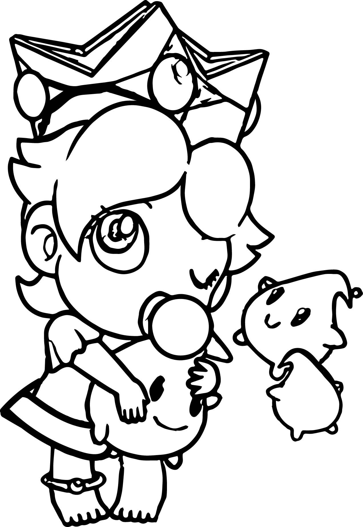 Baby Rosalina Peach Daisy And As Babies Coloring Page